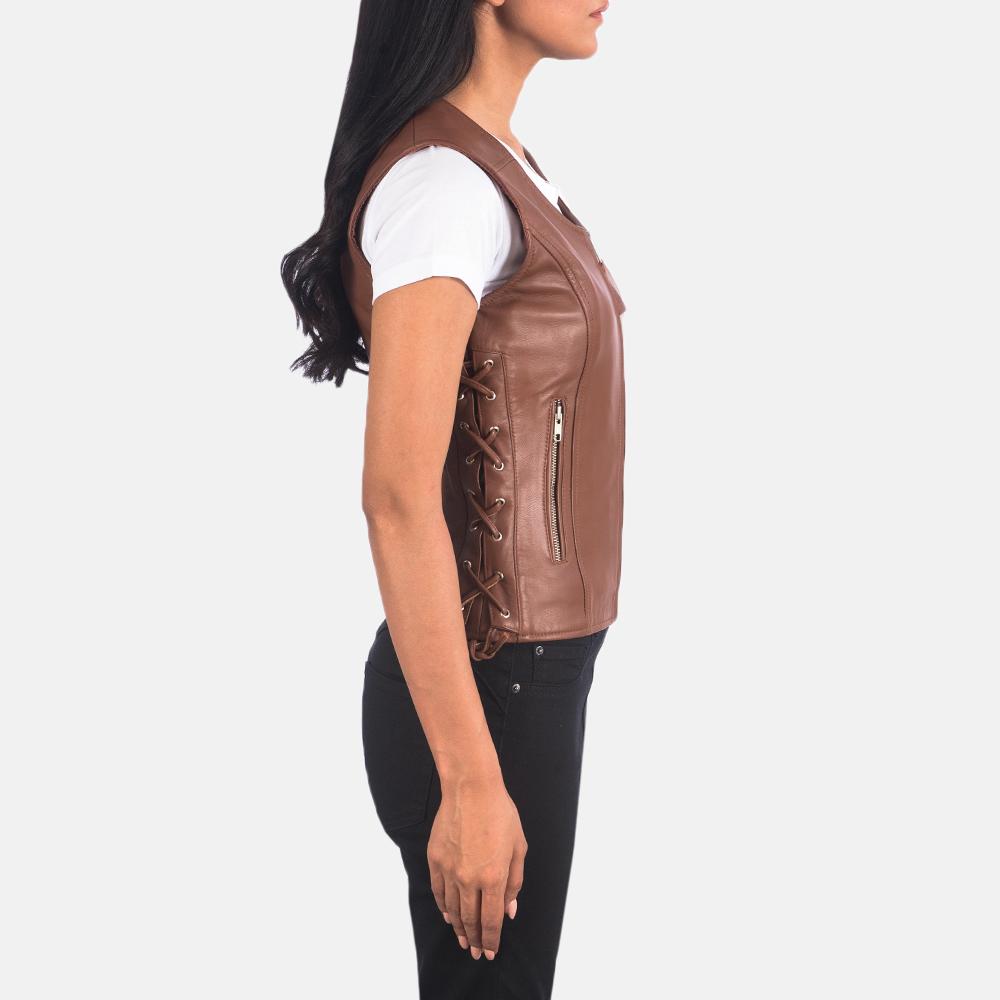 Women's Vanda Brown Leather Biker Vest 6
