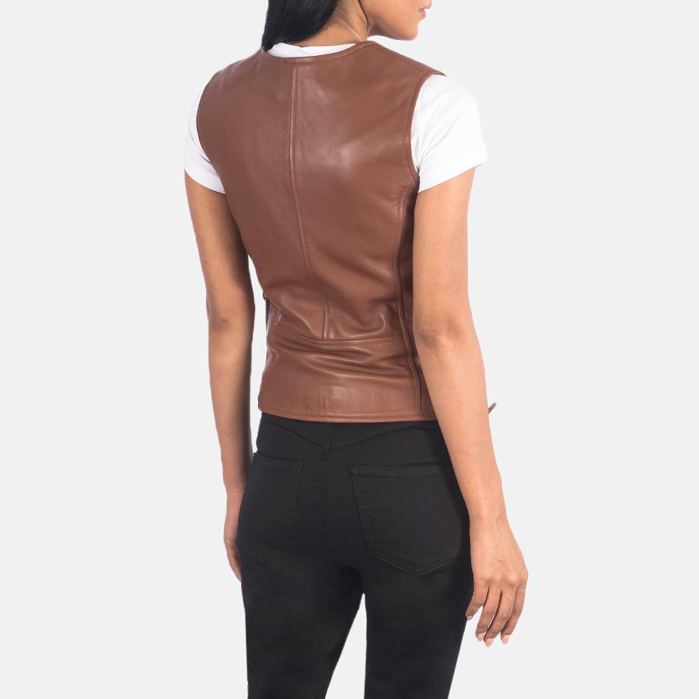 Women's Vanda Brown Leather Biker Vest 5