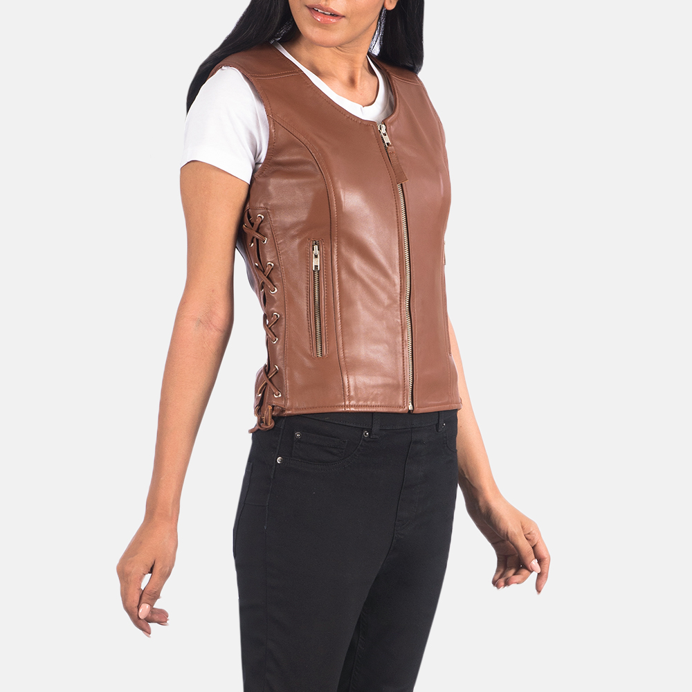 Women's Vanda Brown Leather Biker Vest 2
