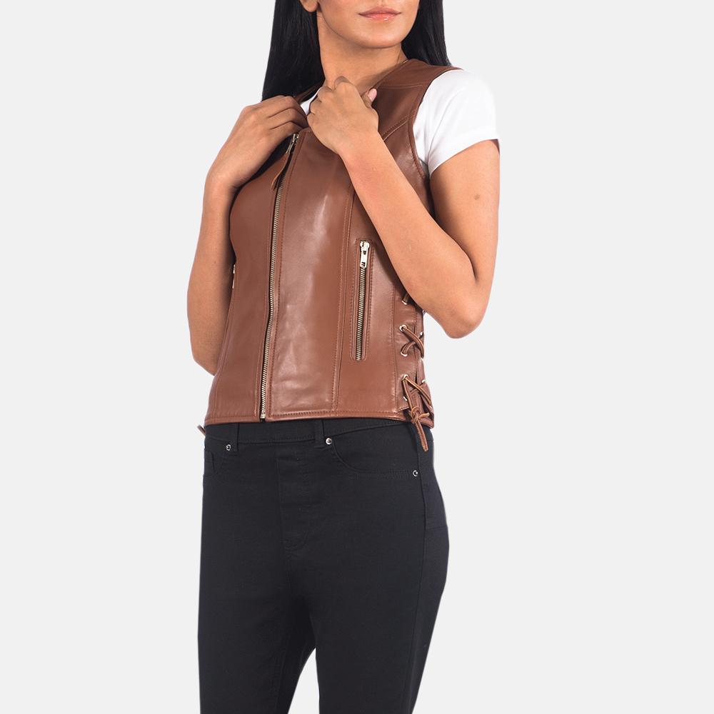 Women's Vanda Brown Leather Biker Vest 3