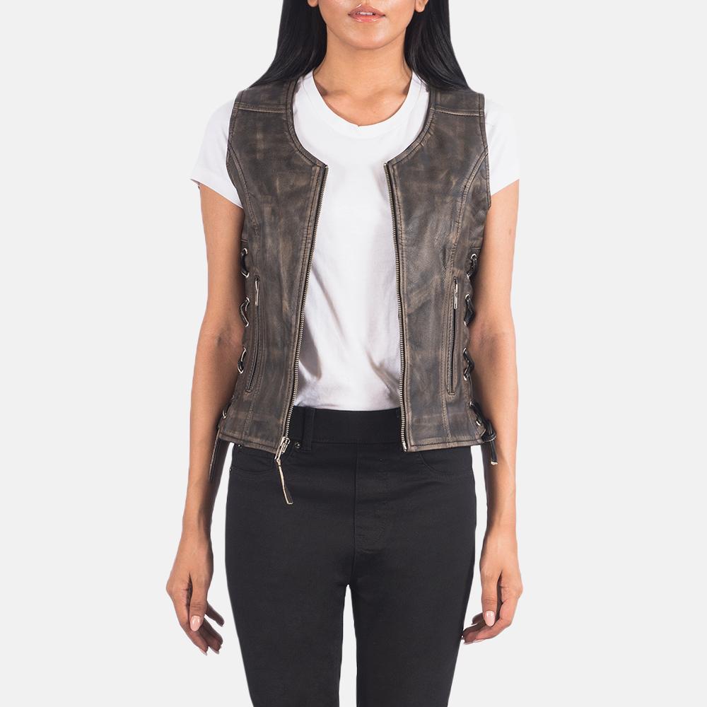 Women's Vanda Distressed Brown Leather Biker Vest 3