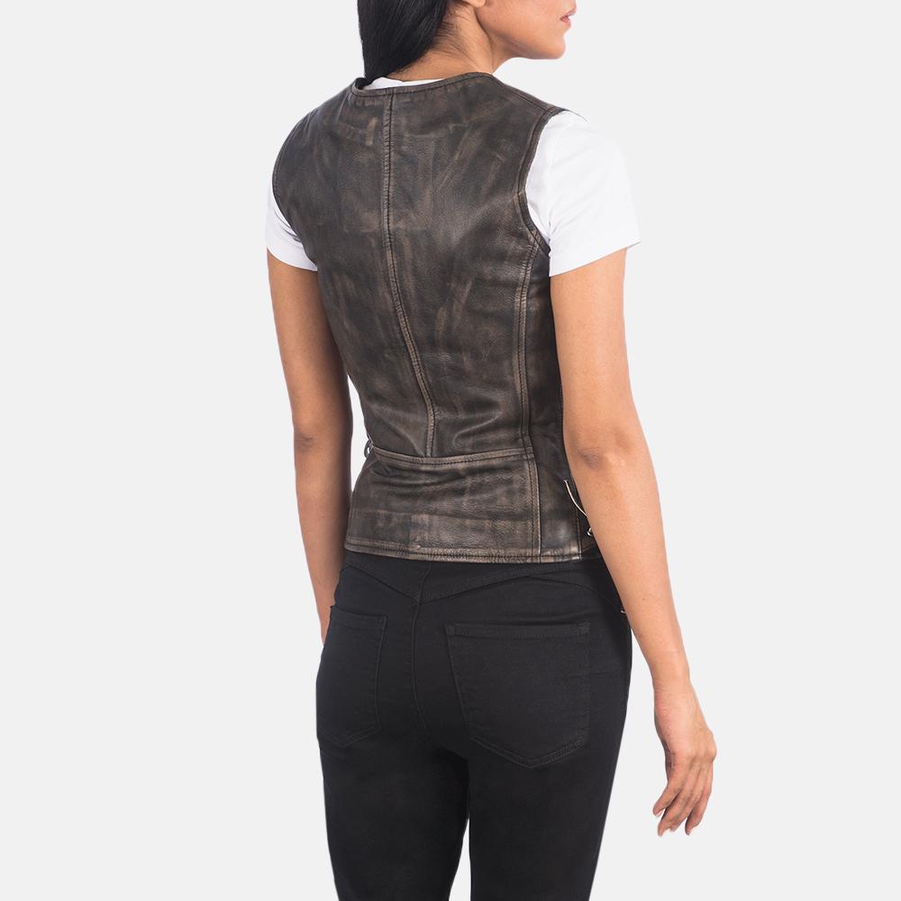 Women's Vanda Distressed Brown Leather Biker Vest 5