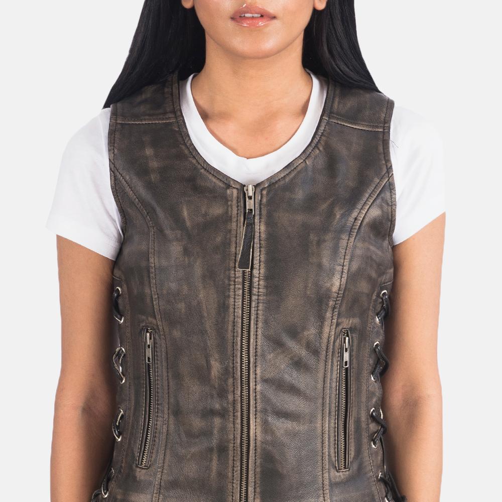 Women's Vanda Distressed Brown Leather Biker Vest 6