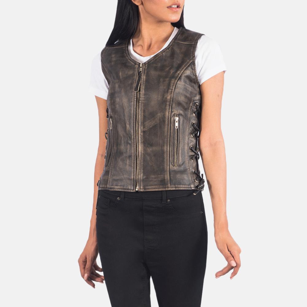 Women's Vanda Distressed Brown Leather Biker Vest 4