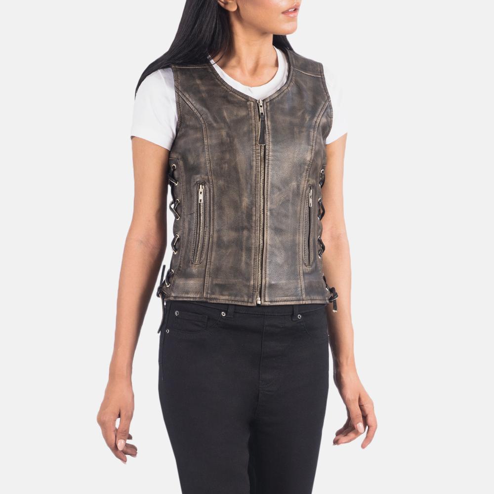 Women's Vanda Distressed Brown Leather Biker Vest 2