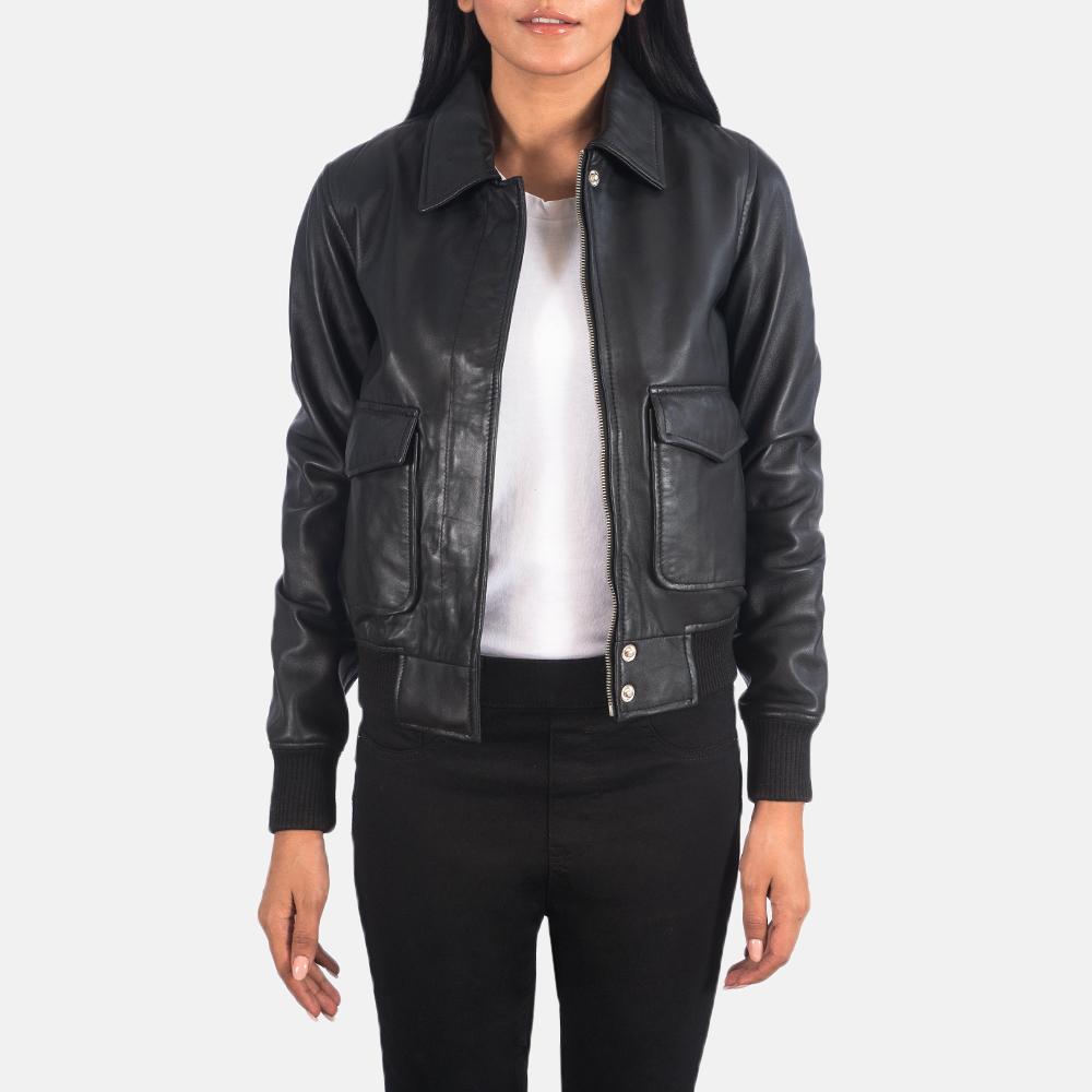 Women's Westa A-2 Black Leather Bomber Jacket 3