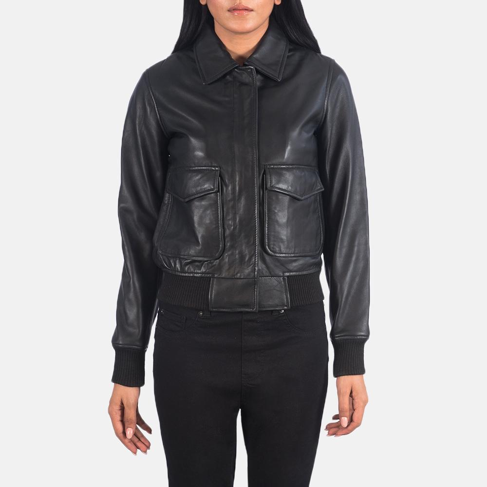Women's Westa A-2 Black Leather Bomber Jacket 4