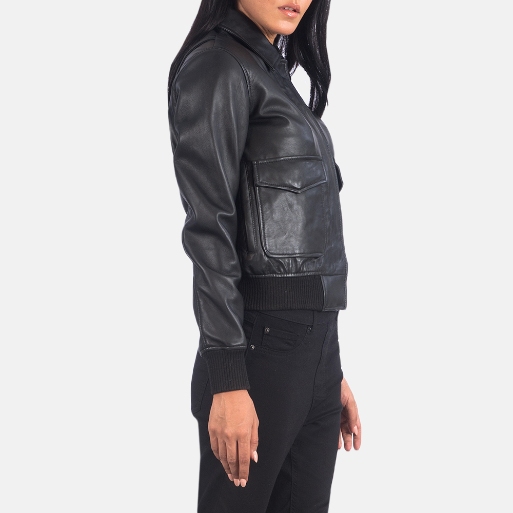 Women's Westa A-2 Black Leather Bomber Jacket 2