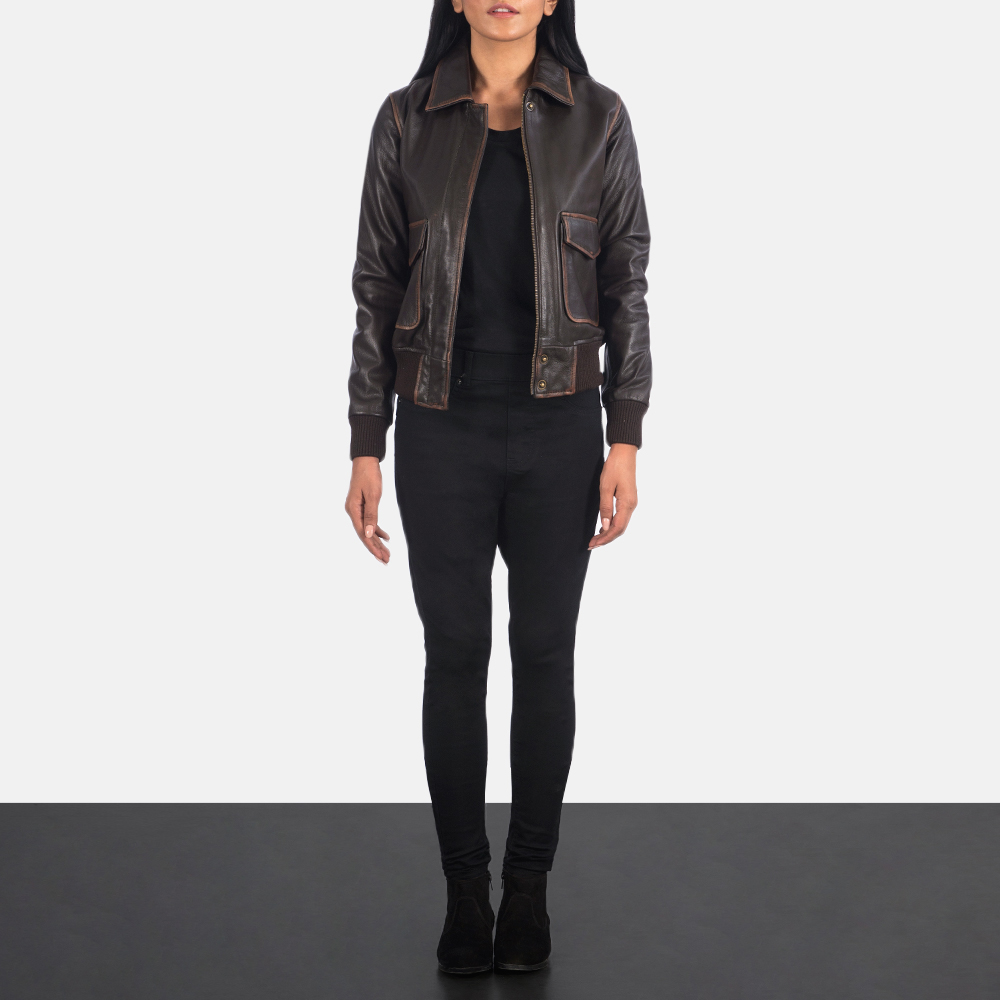 Women's Westa A-2 Brown Leather Bomber Jacket 1