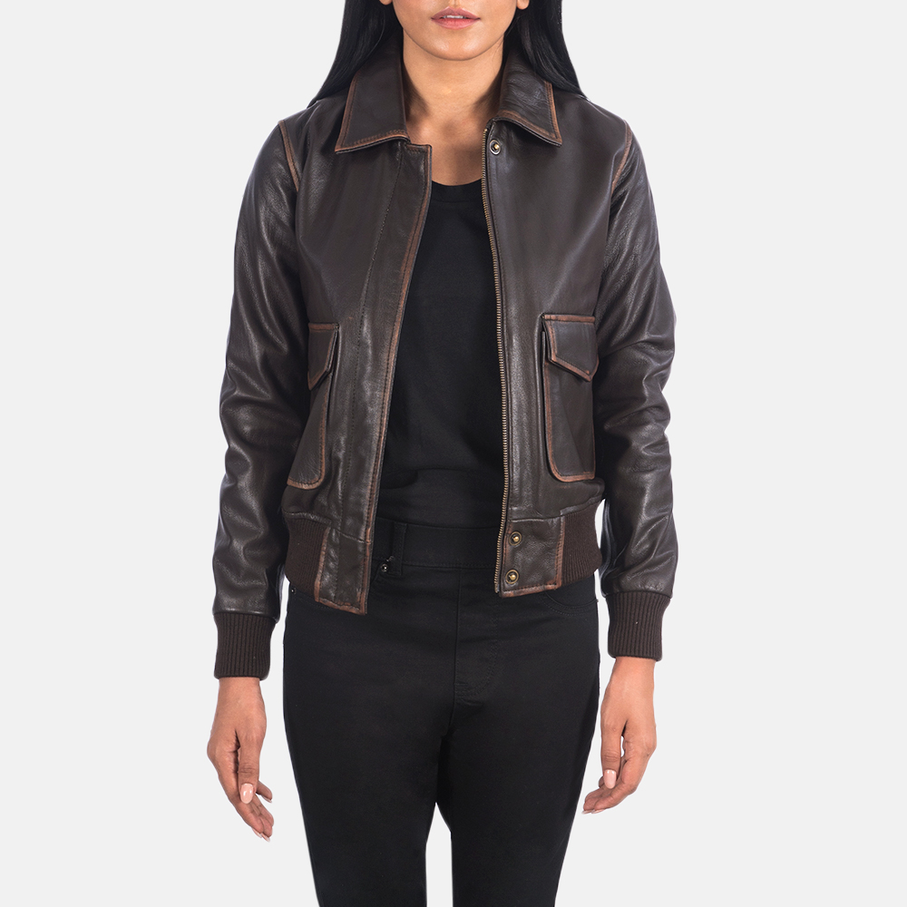 Women's Westa A-2 Brown Leather Bomber Jacket 3