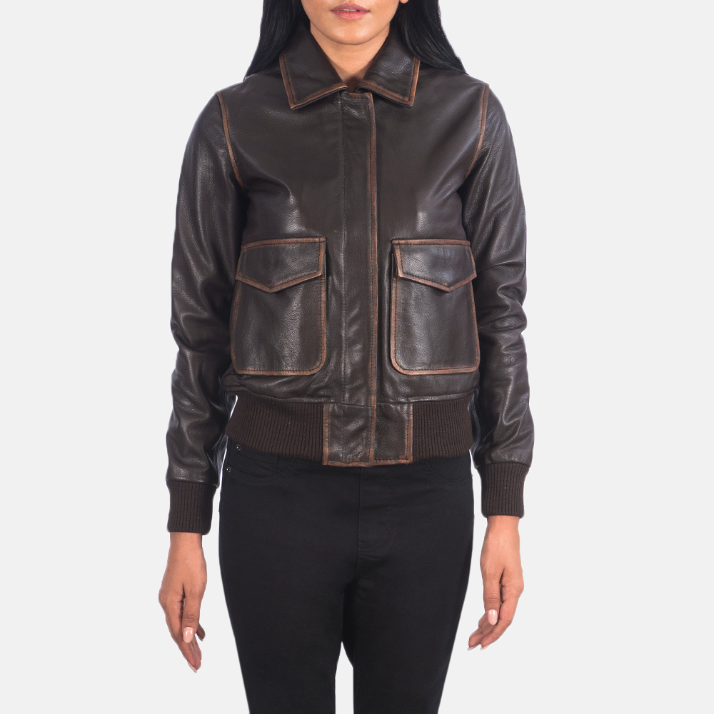 Women's Westa A-2 Brown Leather Bomber Jacket 4