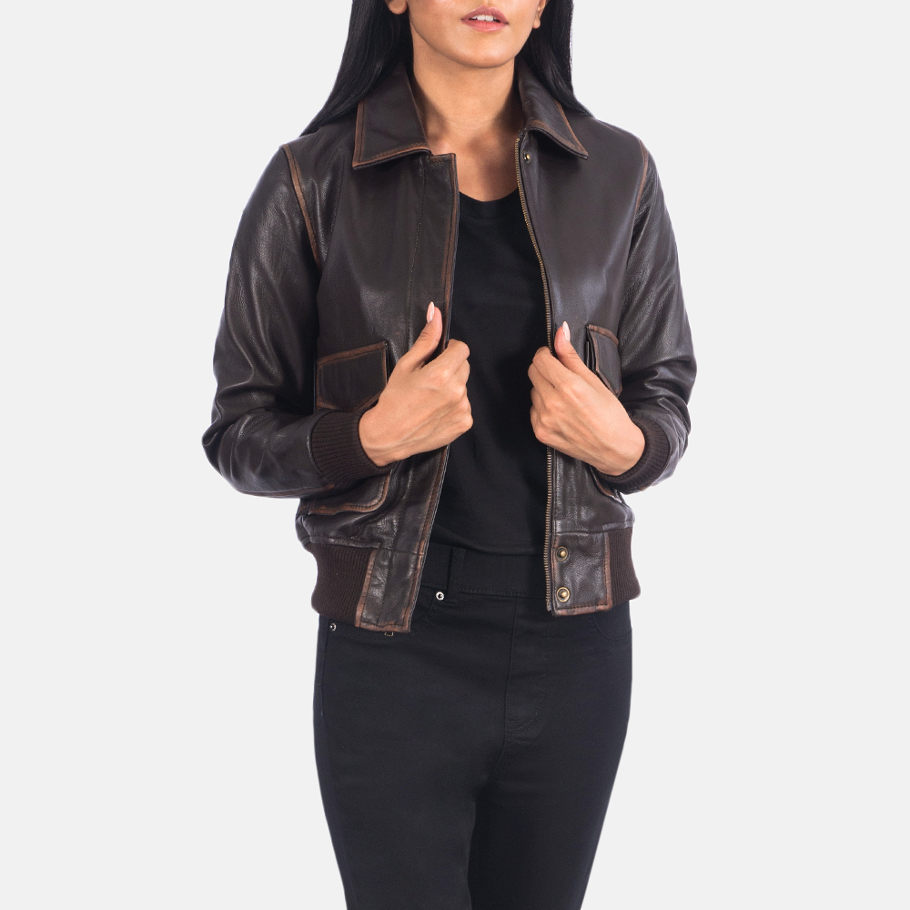 Women's Westa A-2 Brown Leather Bomber Jacket 2