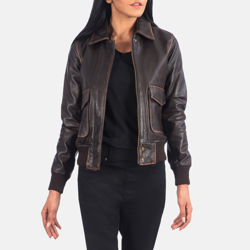 Women's Westa A-2 Brown Leather Bomber Jacket 6