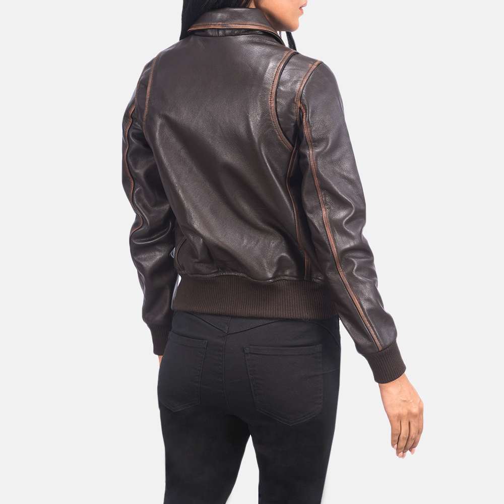 Women's Westa A-2 Brown Leather Bomber Jacket 5