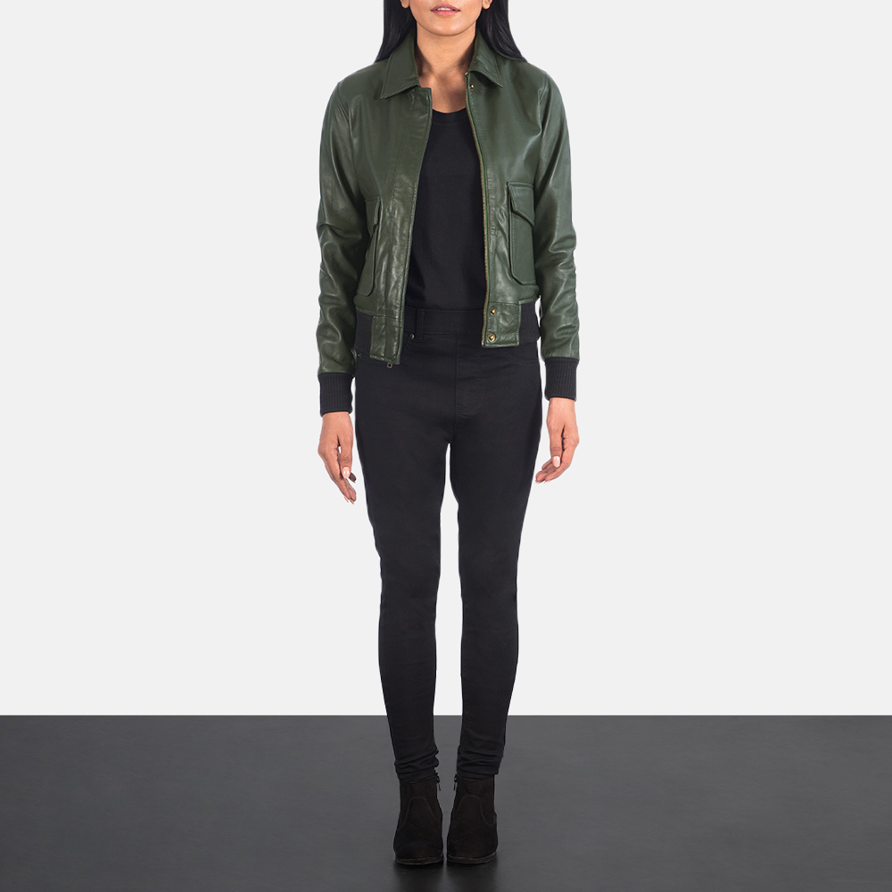 Women's Westa A-2 Green Leather Bomber Jacket 1
