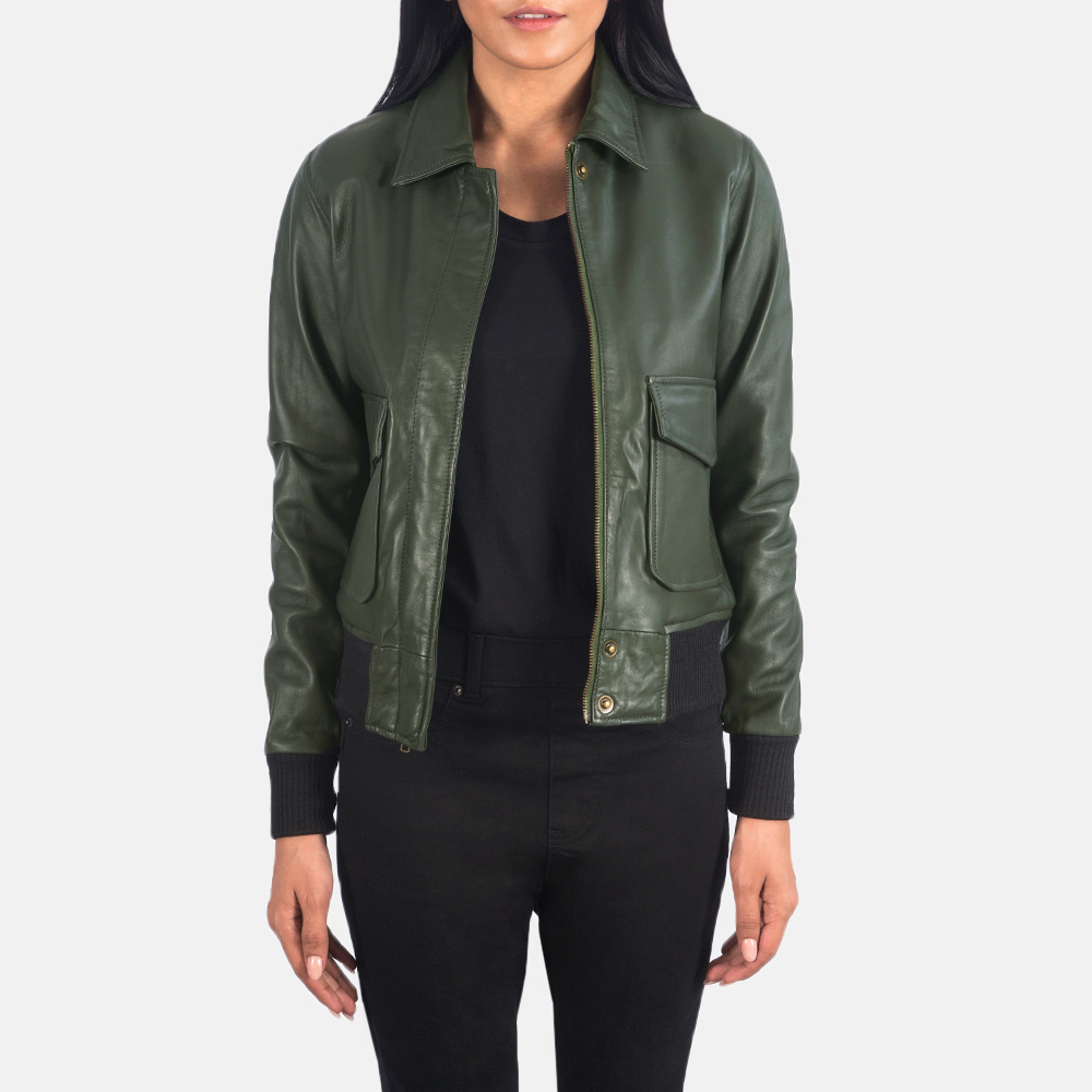 Women's Westa A-2 Green Leather Bomber Jacket 3