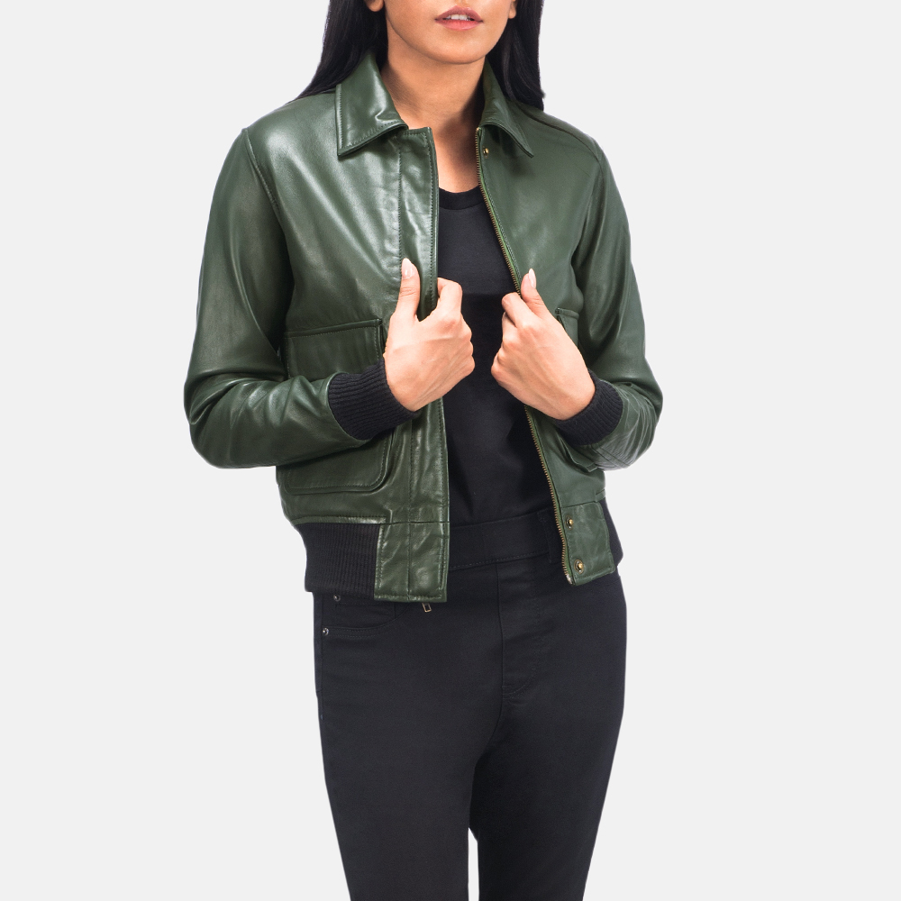 Women's Westa A-2 Green Leather Bomber Jacket 2