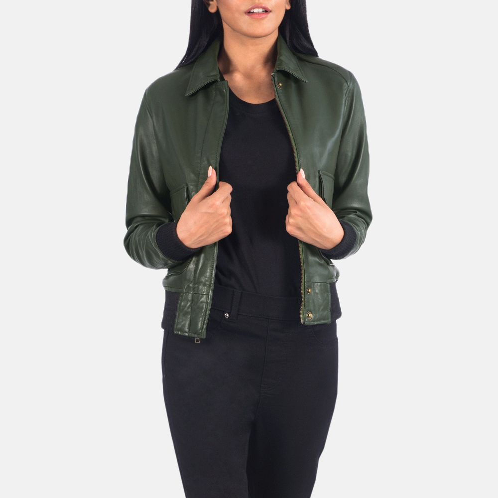 Women's Westa A-2 Green Leather Bomber Jacket 4