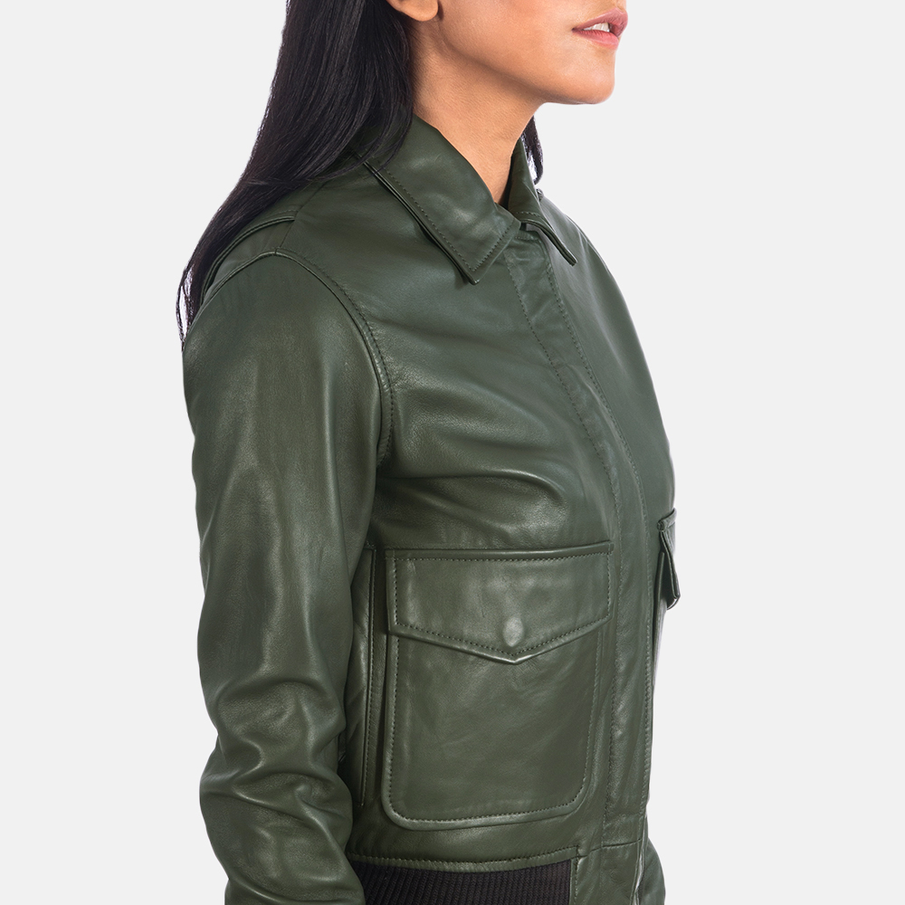 Women's Westa A-2 Green Leather Bomber Jacket 6