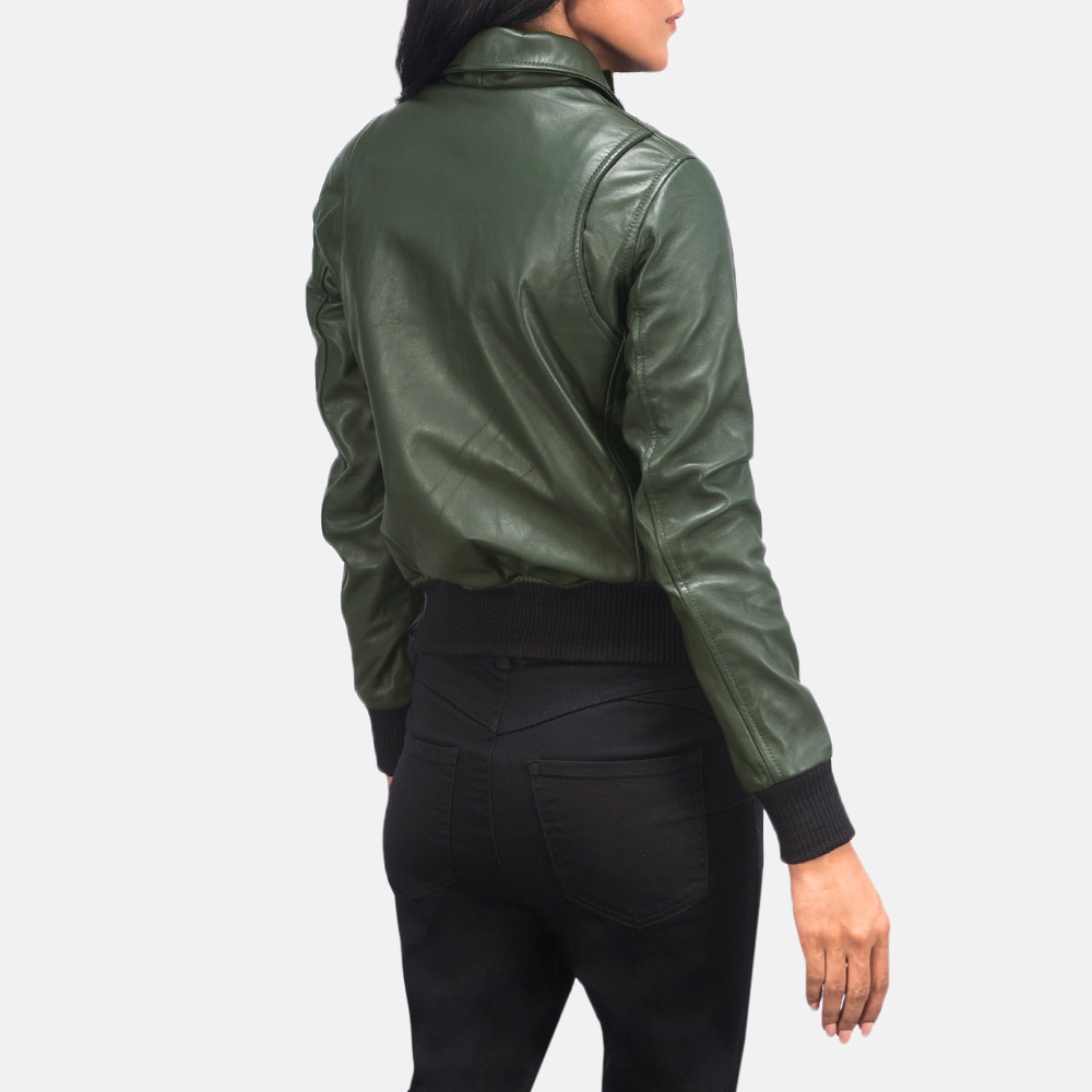 Women's Westa A-2 Green Leather Bomber Jacket 5