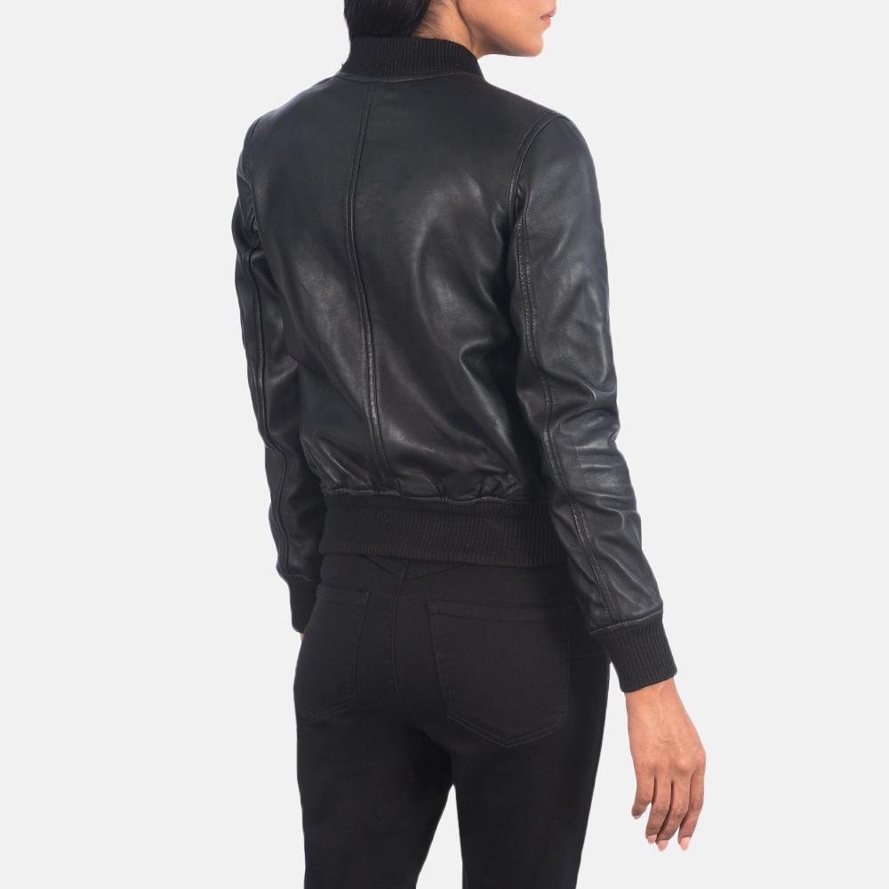 Women's Ava Ma-1 Black Leather Bomber Jacket 5
