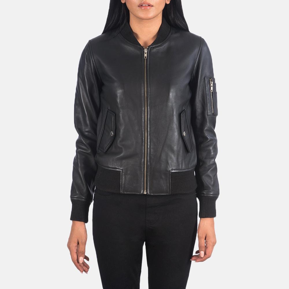Women's Ava Ma-1 Black Leather Bomber Jacket 2