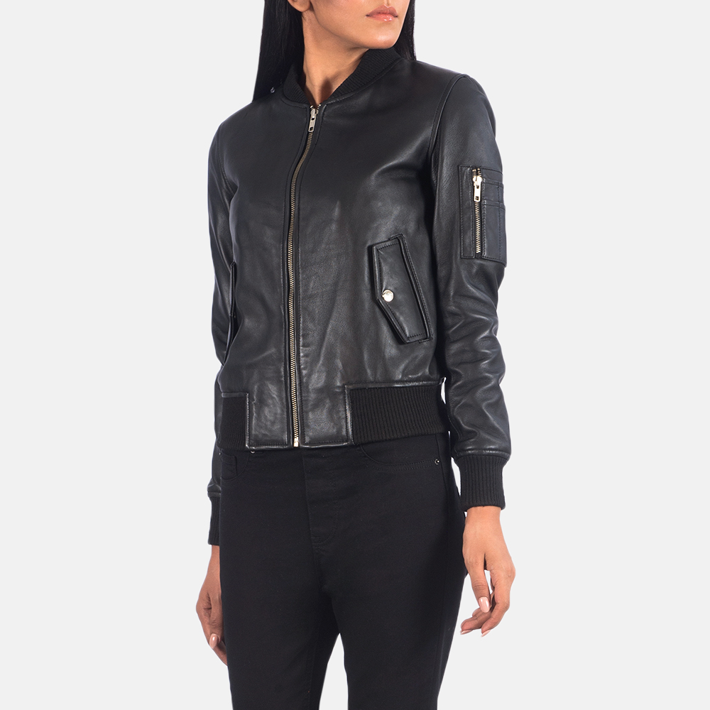 Women's Ava Ma-1 Black Leather Bomber Jacket 3