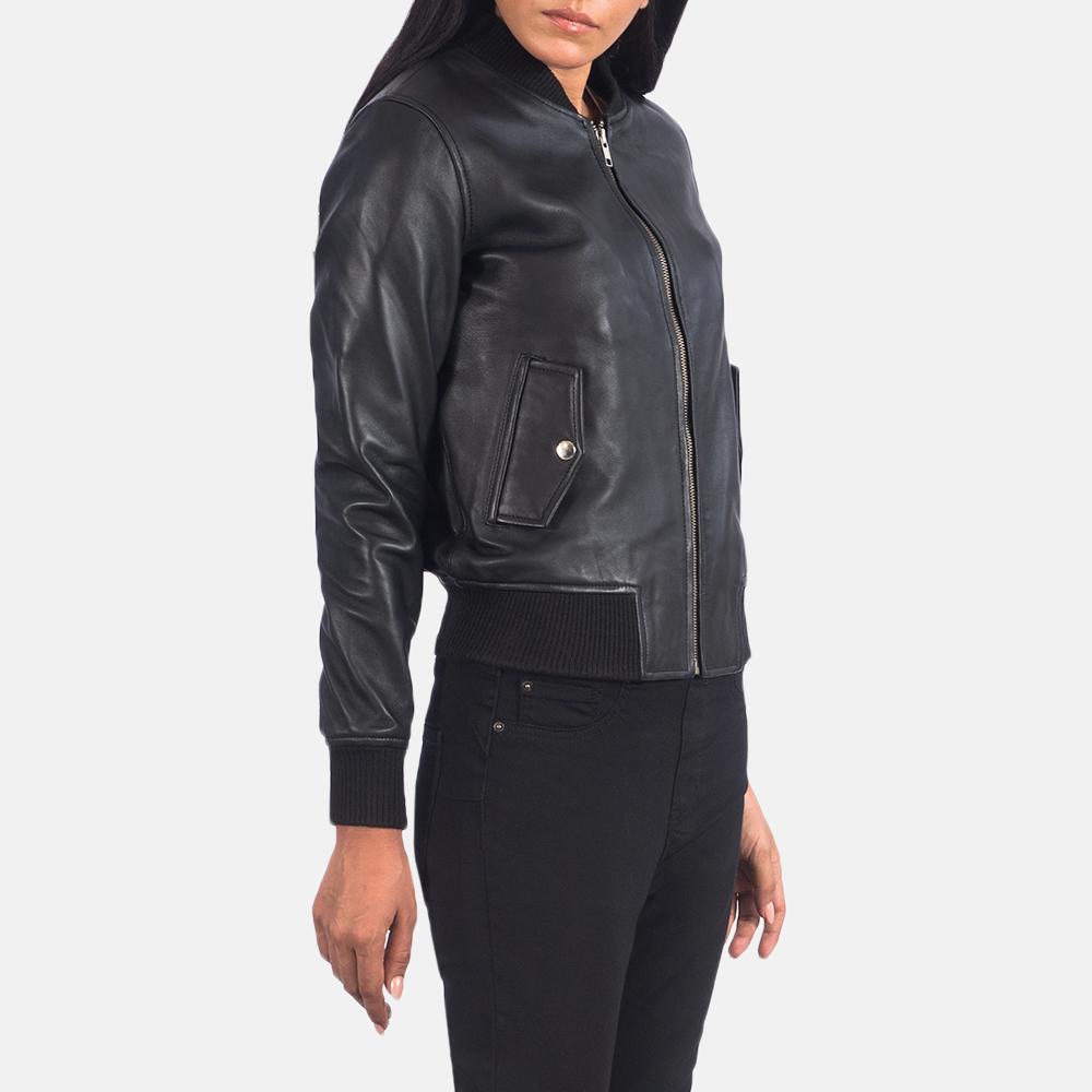 Women's Ava Ma-1 Black Leather Bomber Jacket 4