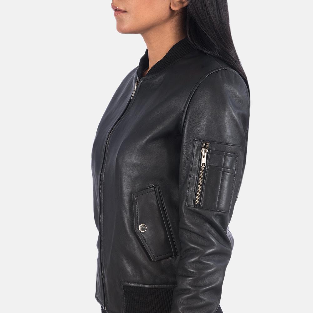 Women's Ava Ma-1 Black Leather Bomber Jacket 6