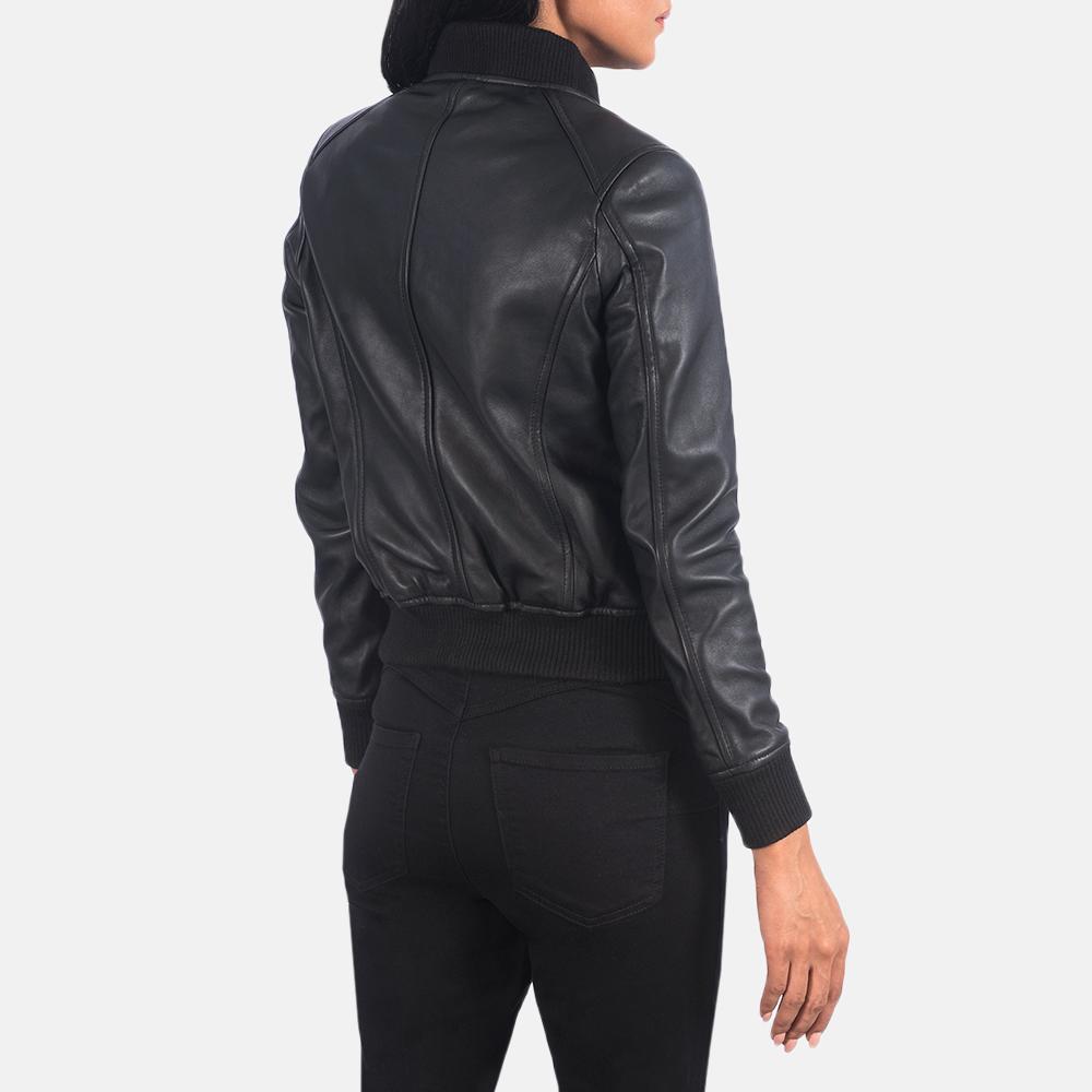 Women's Bliss Black Leather Bomber Jacket 5