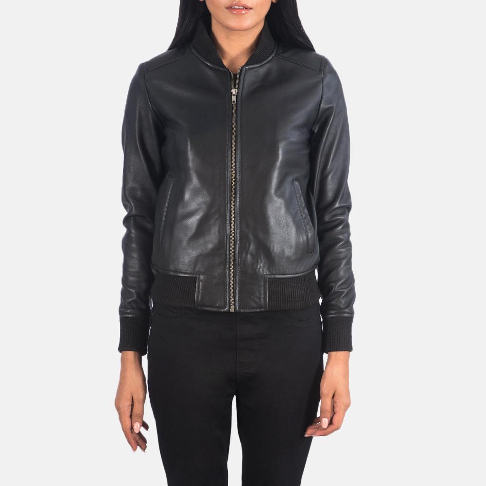 Women's Bliss Black Leather Bomber Jacket 2