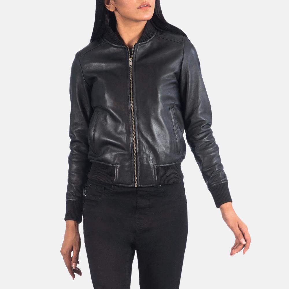 Women's Bliss Black Leather Bomber Jacket 4