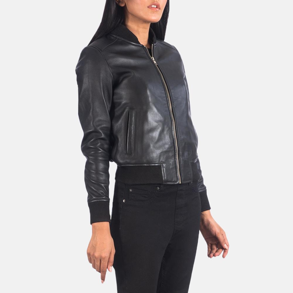 Women's Bliss Black Leather Bomber Jacket 6