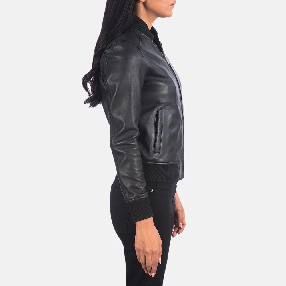 Women's Bliss Black Leather Bomber Jacket 3