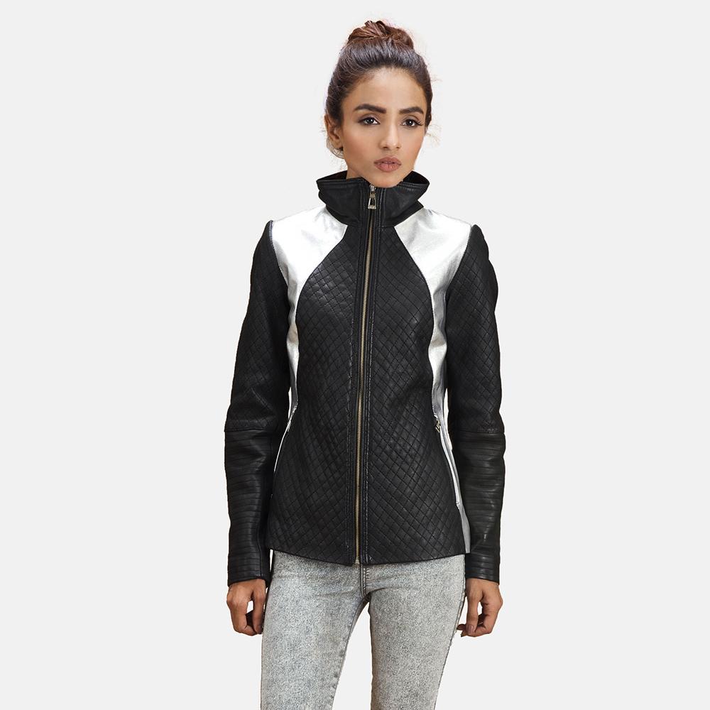 Alia Metallic Black Leather Biker Jacket