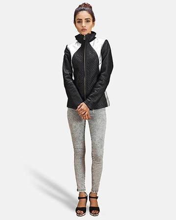 Womens Alia Metallic Black Leather Biker Jacket 1
