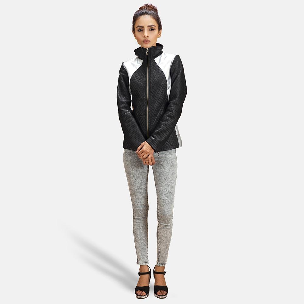 Womens Alia Metallic Black Leather Biker Jacket 2