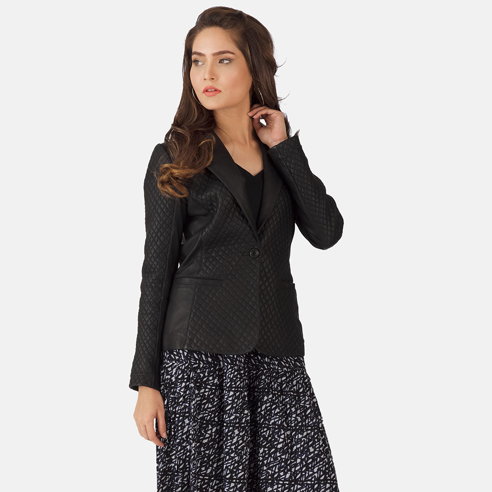 Womens Cora Quilted Black Leather Blazer 1