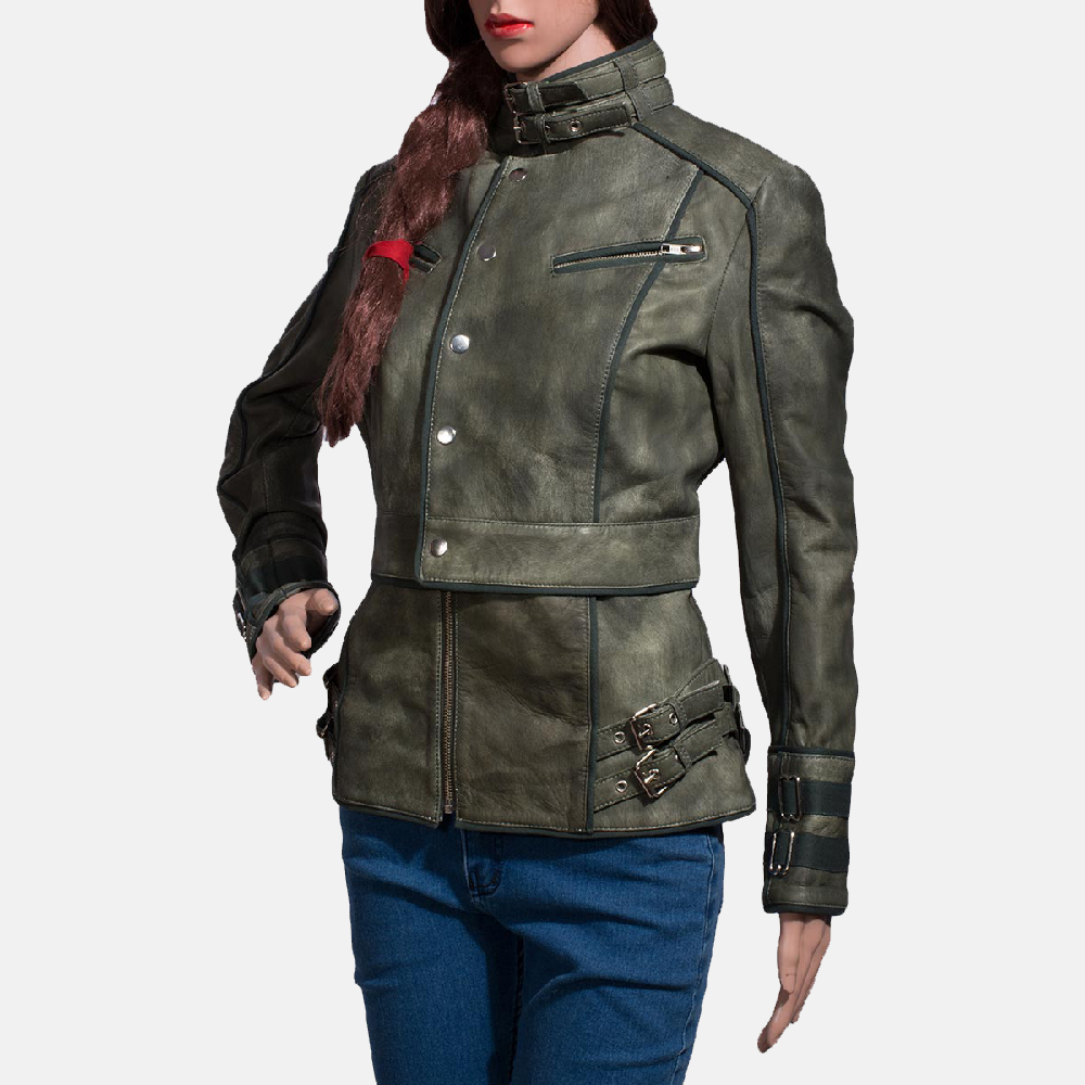 Womens Enchantment Green Leather Jacket 4