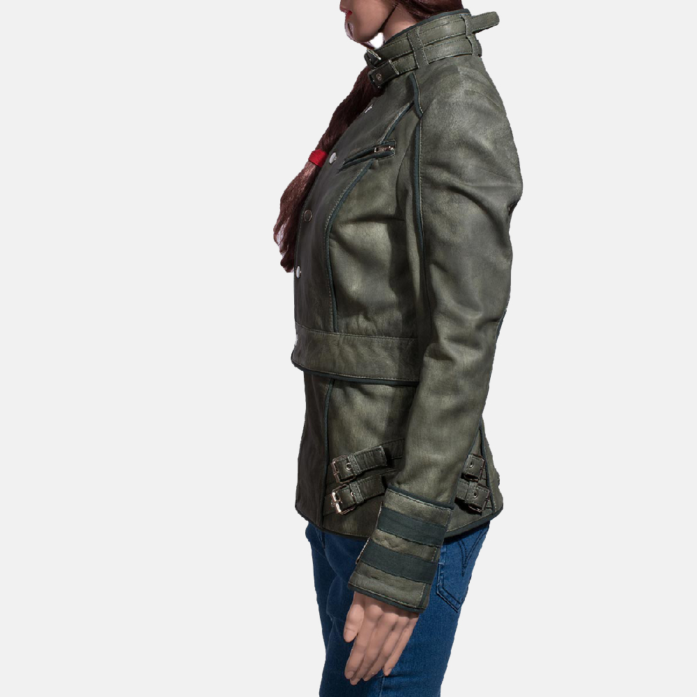 Womens Enchantment Green Leather Jacket 5