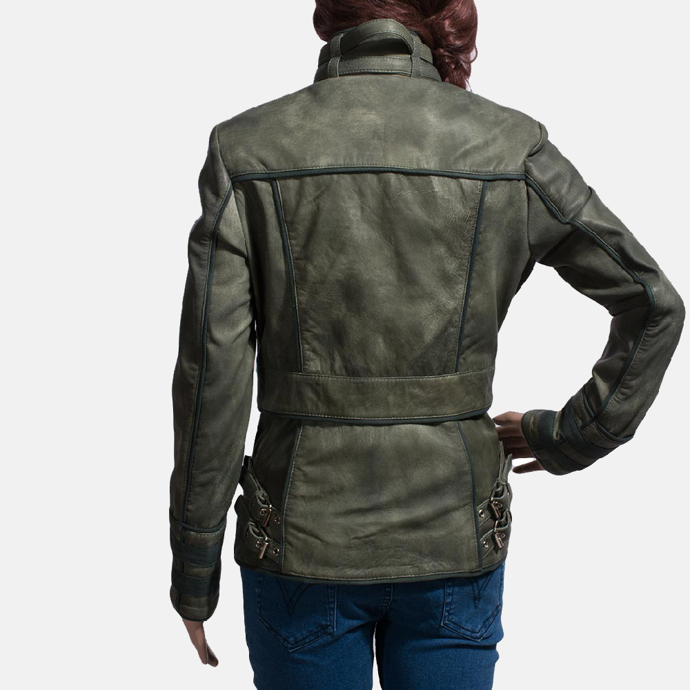 Womens Enchantment Green Leather Jacket 6