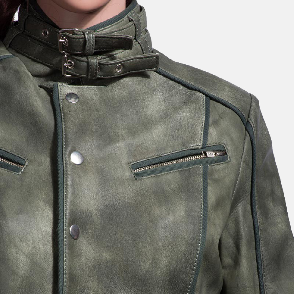 Womens Enchantment Green Leather Jacket 3