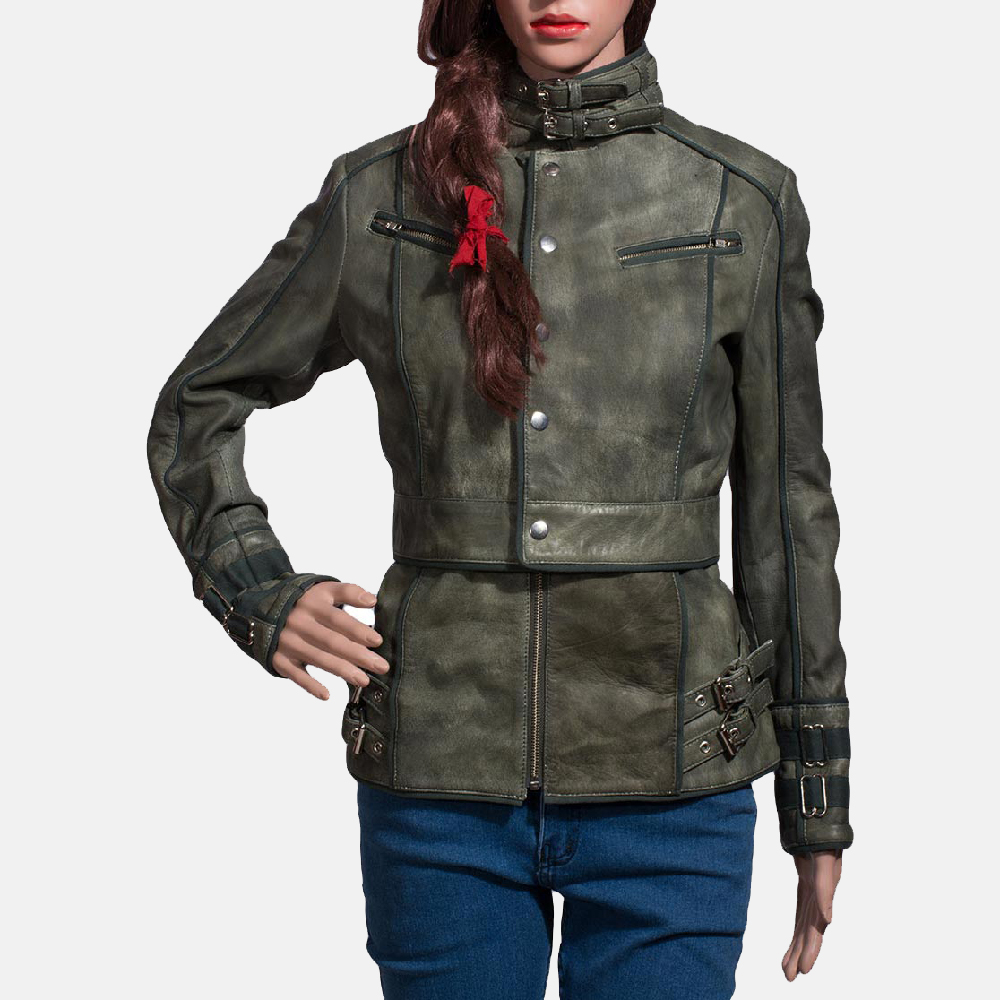 Womens Enchantment Green Leather Jacket 2