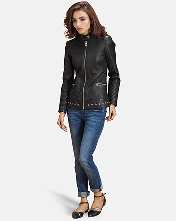 Womens Haley Ray Black Leather Biker Jacket 1