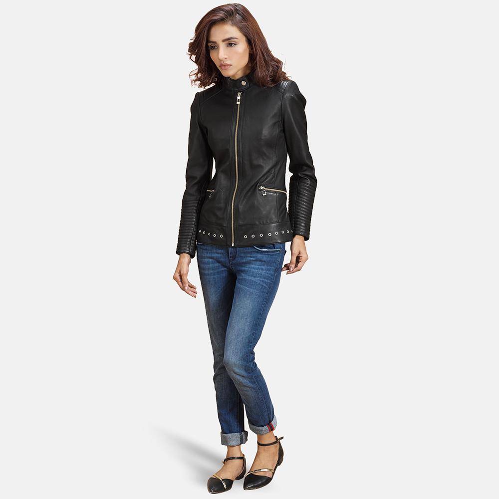 Womens Haley Ray Black Leather Biker Jacket 2