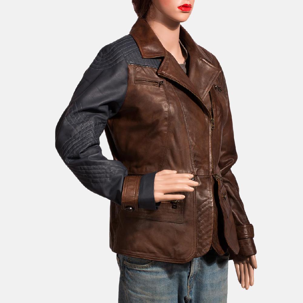 Womens Hydridella Leather Jacket 4