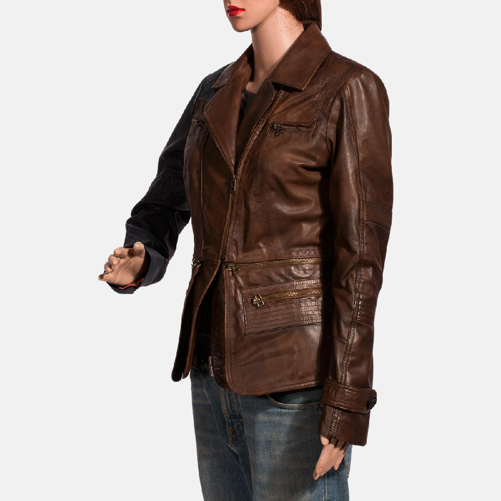 Womens Hydridella Leather Jacket 5