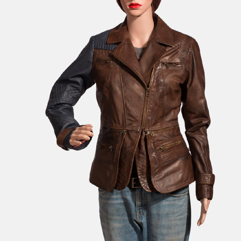 Womens Hydridella Leather Jacket 2