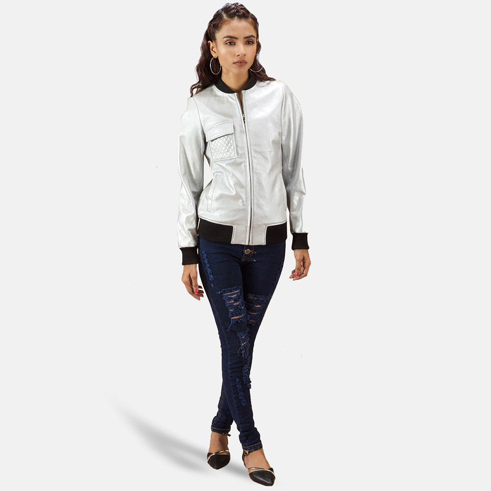 Womens Lana Silver Leather Bomber Jacket 2