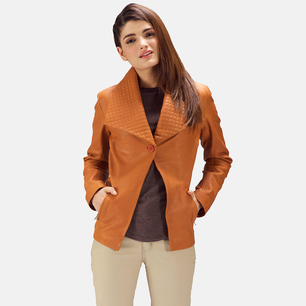 Womens Lee Tan Brown Leather Blazer 1